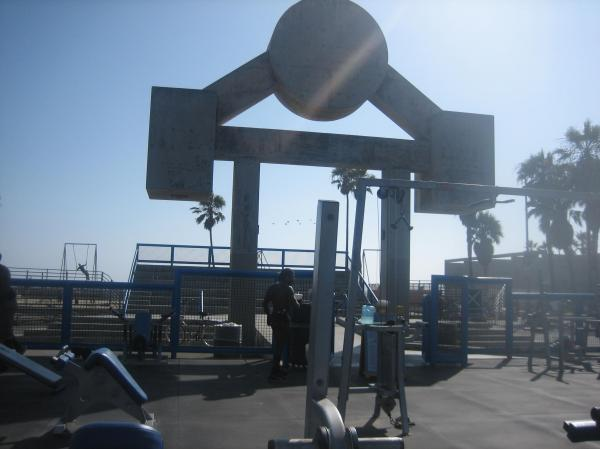 "The world-famous ""muscle beach"" at Venice Beach."
